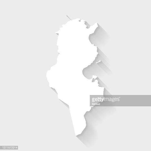 tunisia map with long shadow on blank background - flat design - tunis stock illustrations