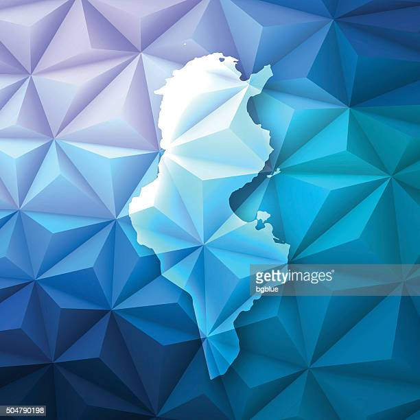 tunisia on abstract polygonal background - low poly, geometric - tunisia stock illustrations, clip art, cartoons, & icons