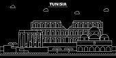 Tunisia silhouette skyline, vector city, tunisian linear architecture, buildings. Tunisia travel illustration, outline landmarkflat icon, tunisian line banner