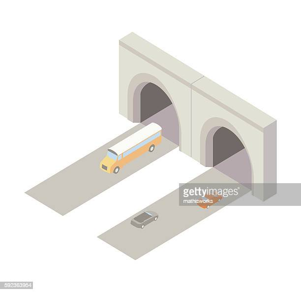 tunnel entrance isometric illustration - mathisworks architecture stock illustrations