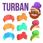 Turban Vector. Indian, Arabic Head Cap, Hat. Bedouin Headdress. Isolated Cartoon Illustration