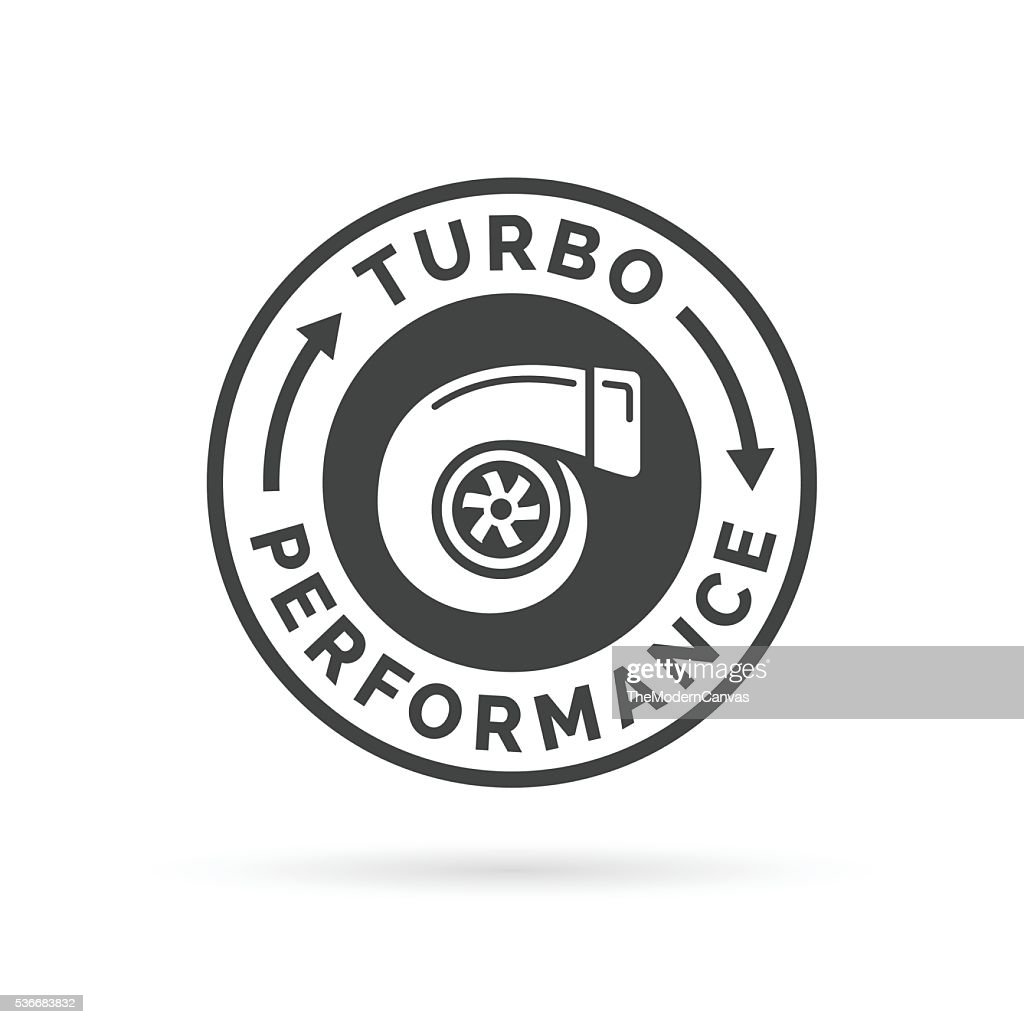 Turbo performance icon badge with car turbocharger compressor stamp symbol.