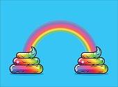 Turd unicorn and rainbow. Appearance of rainbow shit fabulous an