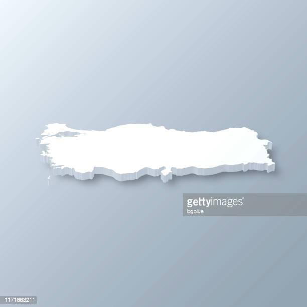 illustrazioni stock, clip art, cartoni animati e icone di tendenza di turkey 3d map on gray background - contemporary istanbul
