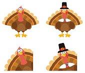 Turkey Bird Cartoon Mascot Character. Set Collection