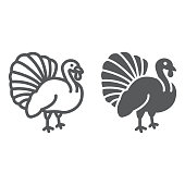 Turkey bird line and glyph icon, animal and farm, poultry sign, vector graphics, a linear pattern on a white background.