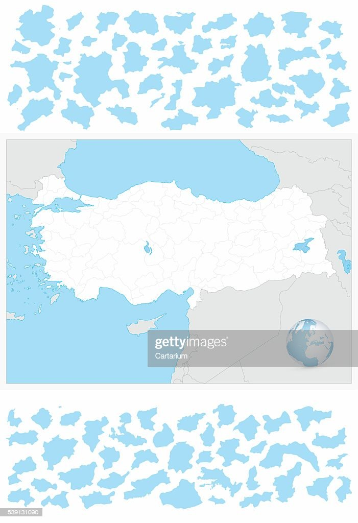 Turkey blank outline map and it's separated layers