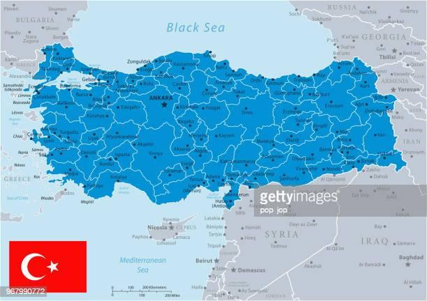 33 - turkey - blue gray 10 - turkey middle east stock illustrations