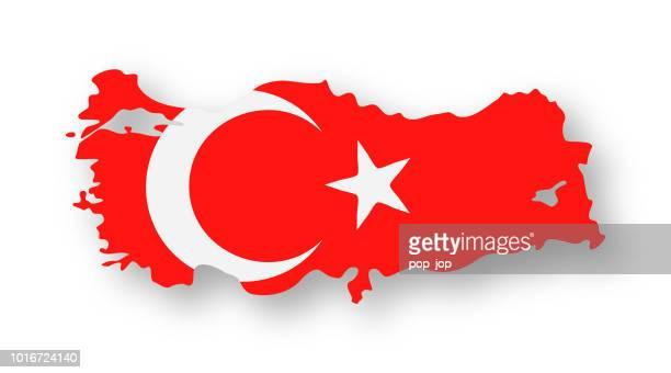 türkei - kontur land vektor flache flaggensymbol - türkei stock-grafiken, -clipart, -cartoons und -symbole