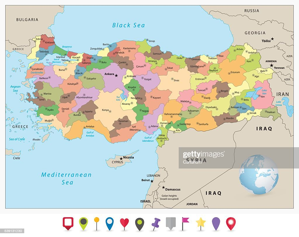 Turkey detailed administrative map and flat icon set