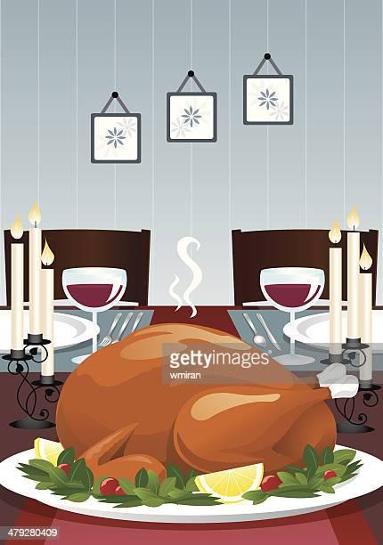 ilustraciones, imágenes clip art, dibujos animados e iconos de stock de turquía la cena - mesa de comedor