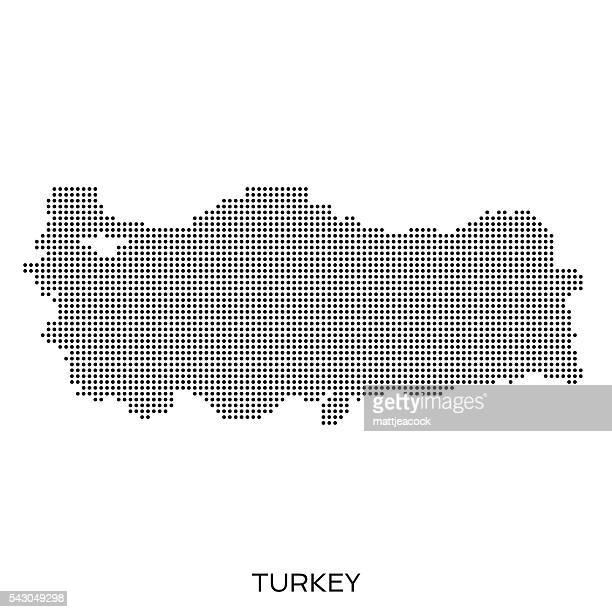 türkei halbtonmuster karte pünktchenmuster - türkei stock-grafiken, -clipart, -cartoons und -symbole