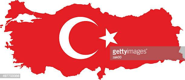 turkey flag map - territorial animal stock illustrations, clip art, cartoons, & icons