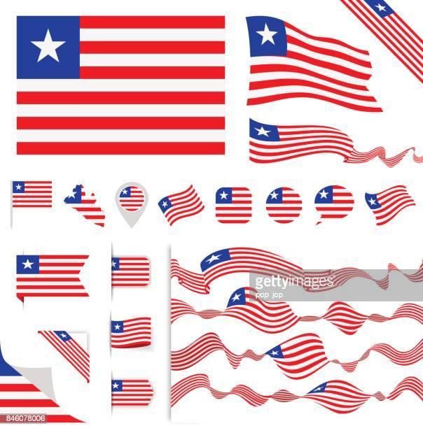 n0605 - turkey - flag set - liberia stock illustrations, clip art, cartoons, & icons