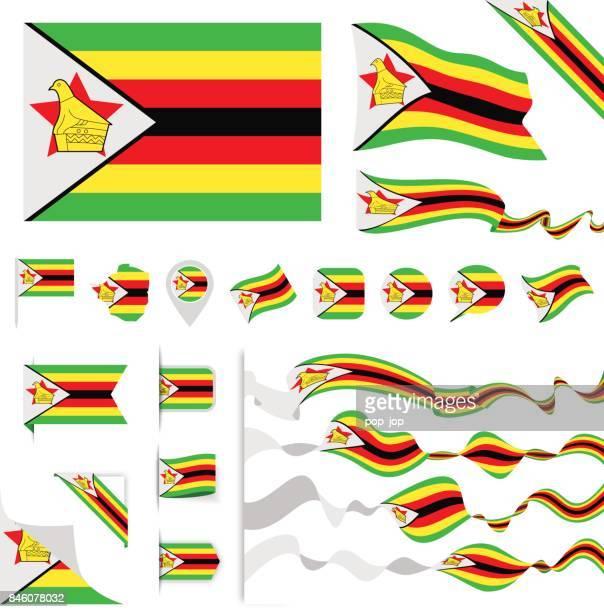 n0605 - turkey - flag set - zimbabwe stock illustrations, clip art, cartoons, & icons