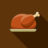 Turkey Flat Design Thanksgiving Icon