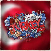 Turkey hand lettering and doodles elements emblem