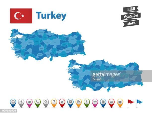 illustrations, cliparts, dessins animés et icônes de turquie - grande carte détaillée avec collection d'icônes gps - turquie