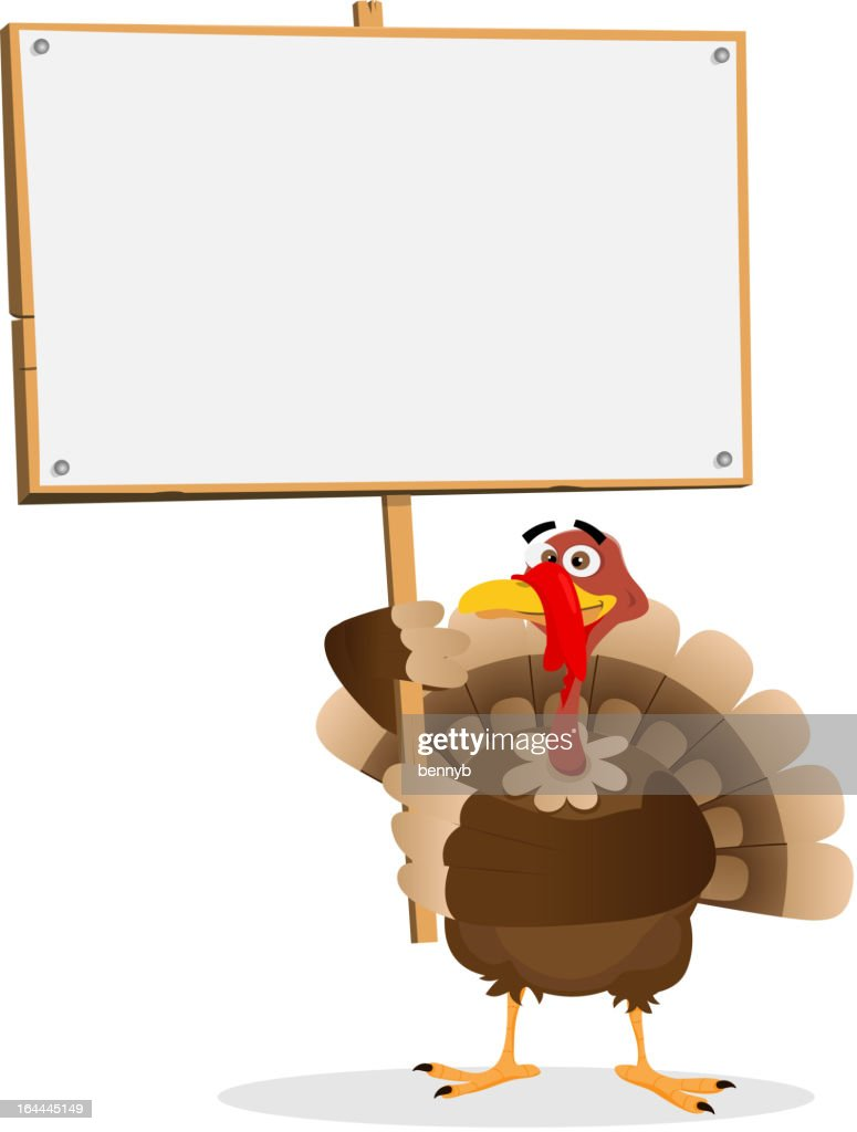 Turkey holding a blank sign for thanksgiving