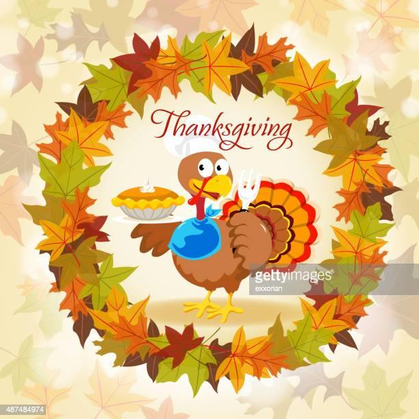 turkey in autumn wreath - meat pie stock illustrations