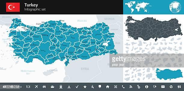 turkey - infographic map - illustration - turkey middle east stock illustrations