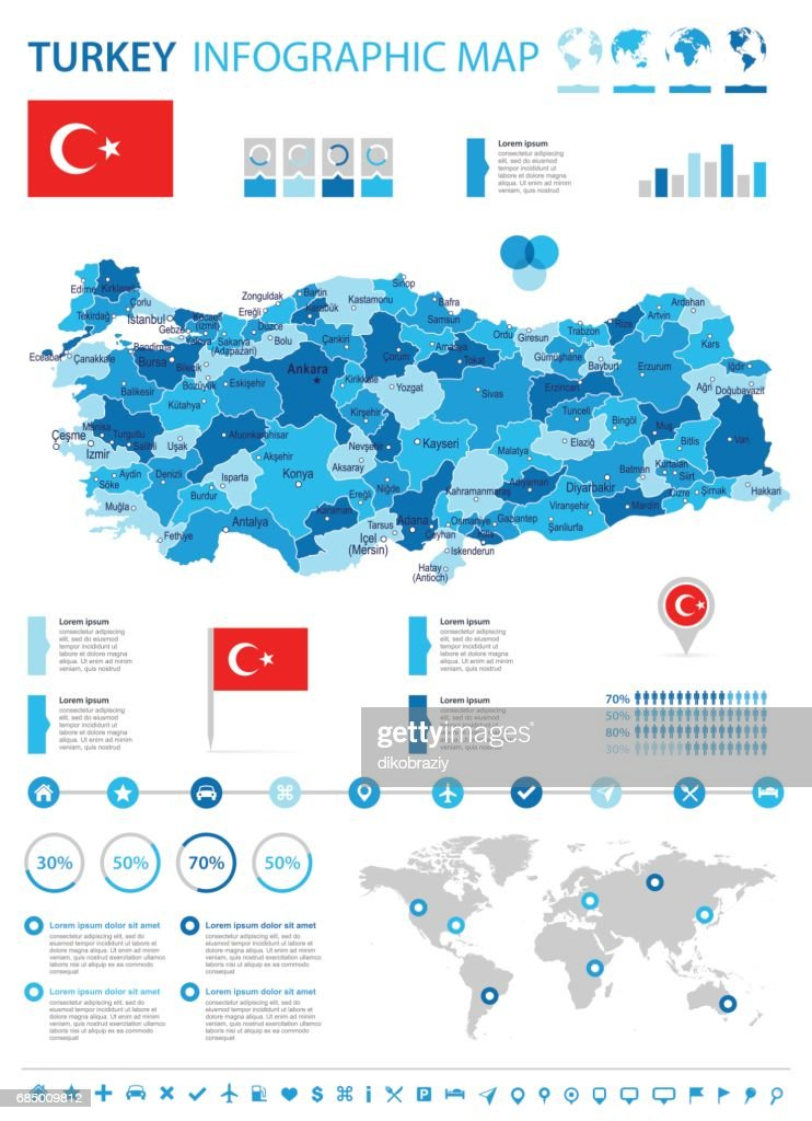 Turkey - map and flag – infographic illustration