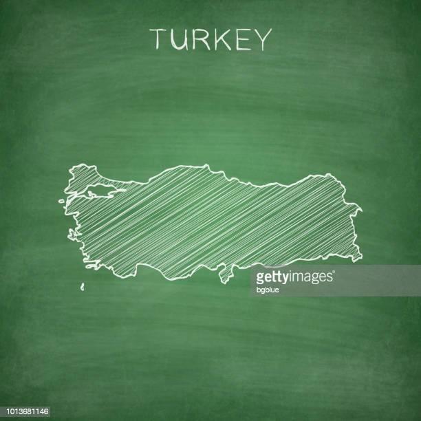 türkei karte auf tafel - tafel gezeichnet - türkei stock-grafiken, -clipart, -cartoons und -symbole