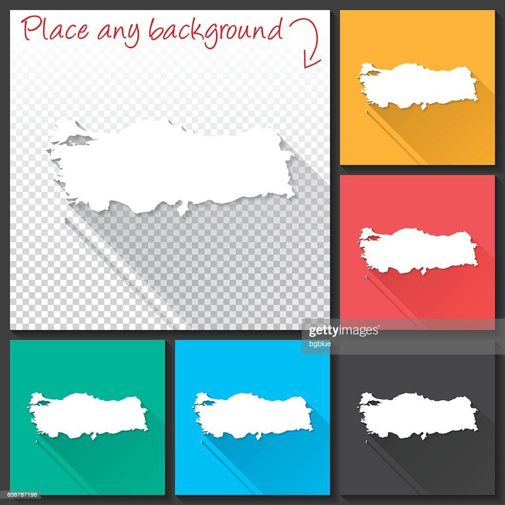 Turkey Map for design, Long Shadow, Flat Design