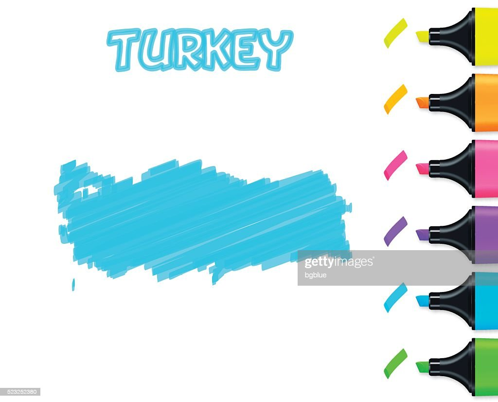 Turkey map hand drawn on white background, blue highlighter