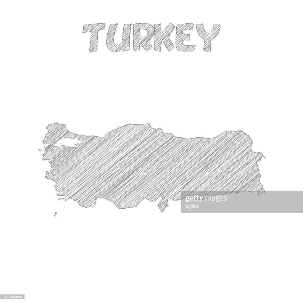 Turkey map hand drawn on white background