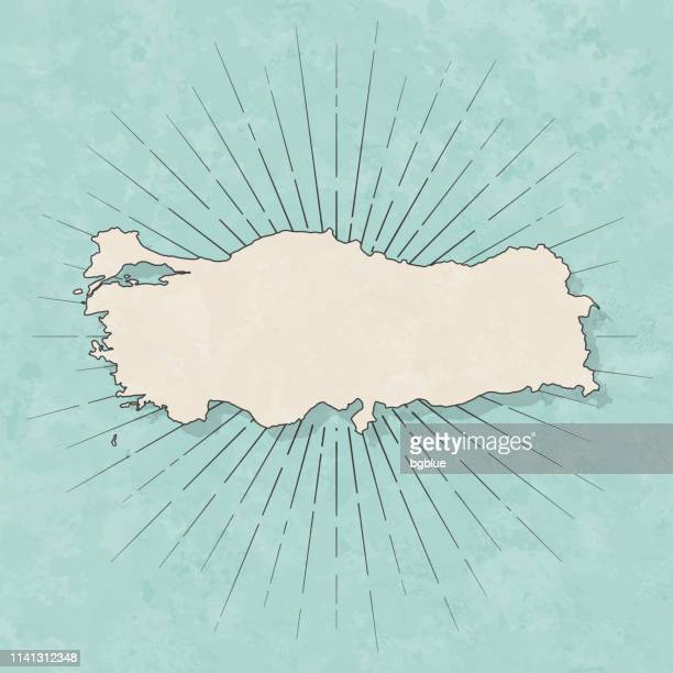 turkey map in retro vintage style - old textured paper - turkey middle east stock illustrations