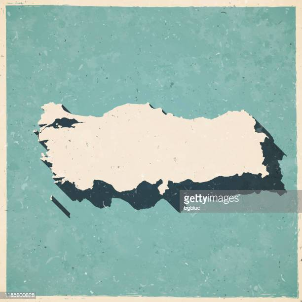 turkey map in retro vintage style - old textured paper - southeast stock illustrations