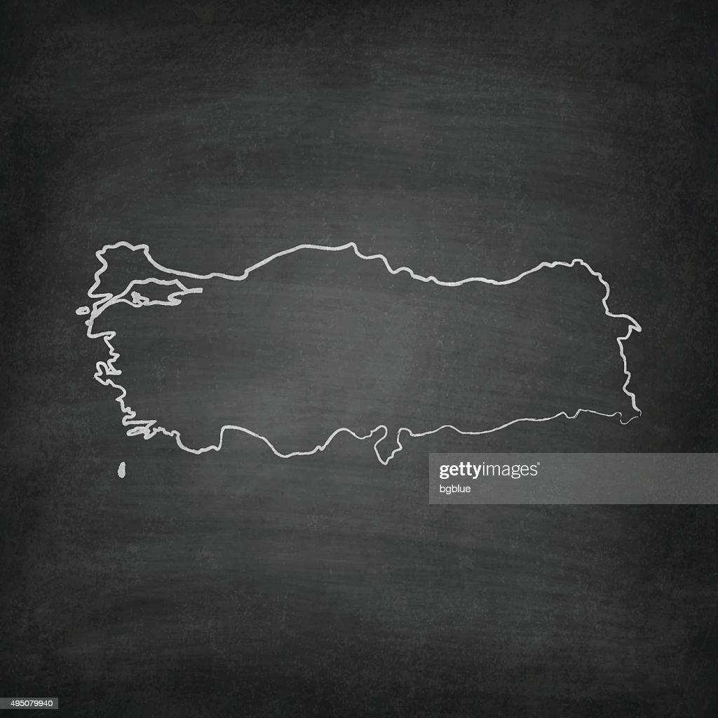 Turkey Map on Blackboard - Chalkboard
