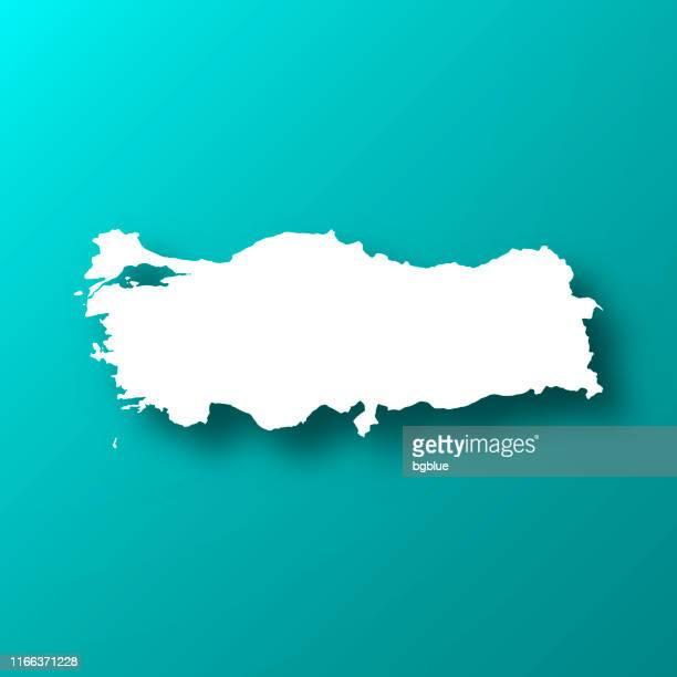 türkei-karte auf blau-grünem hintergrund mit schatten - türkei stock-grafiken, -clipart, -cartoons und -symbole