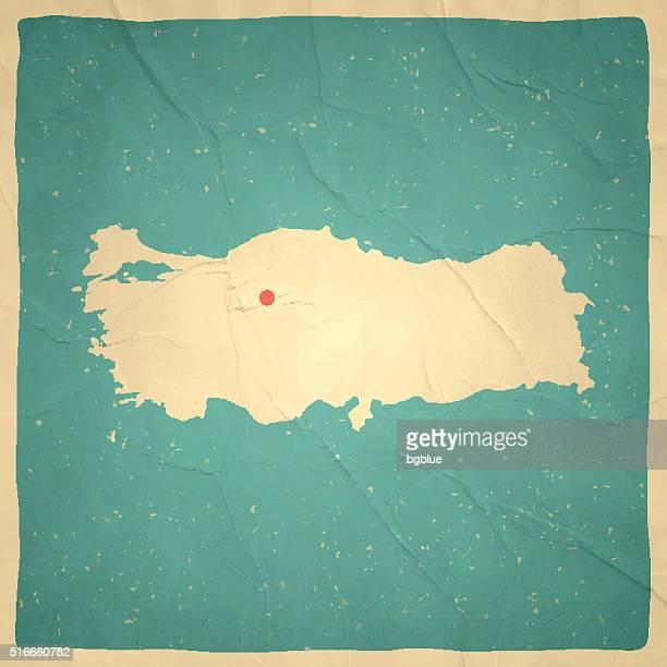 türkei karte auf alten papier-vintage-look - türkei stock-grafiken, -clipart, -cartoons und -symbole