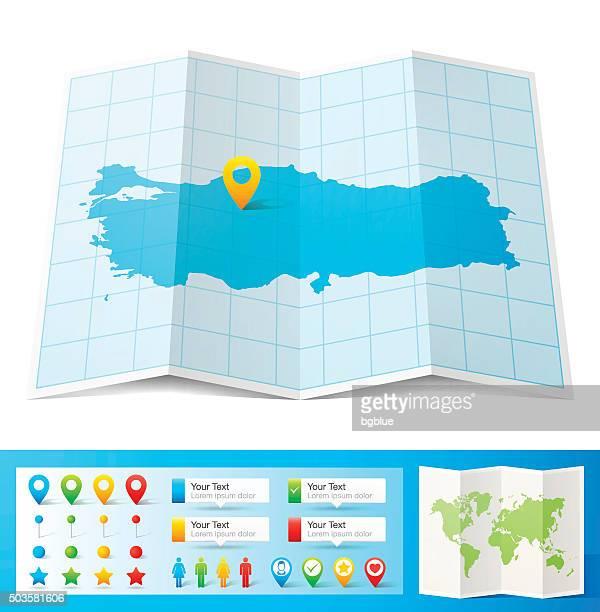 karte von der türkei mit lage pins, isoliert auf weißem hintergrund - türkei stock-grafiken, -clipart, -cartoons und -symbole