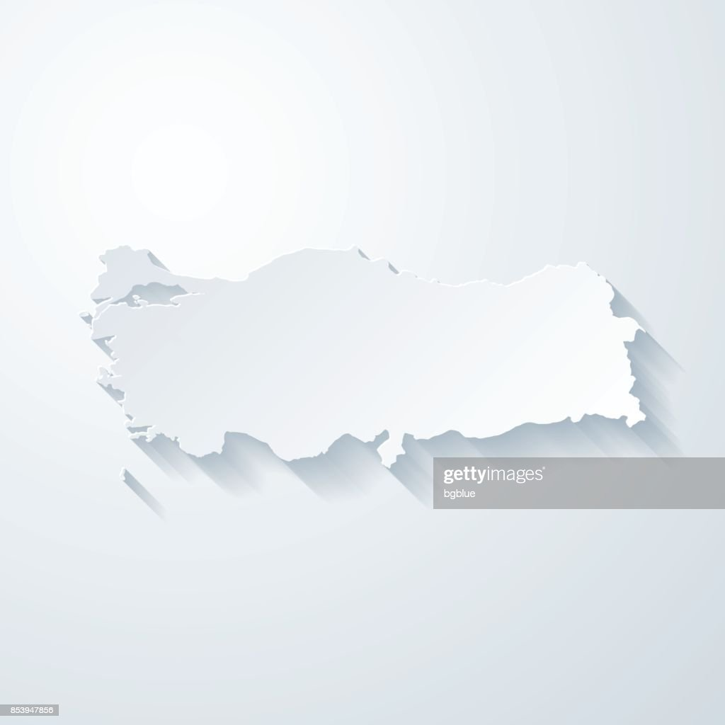 Turkey map with paper cut effect on blank background
