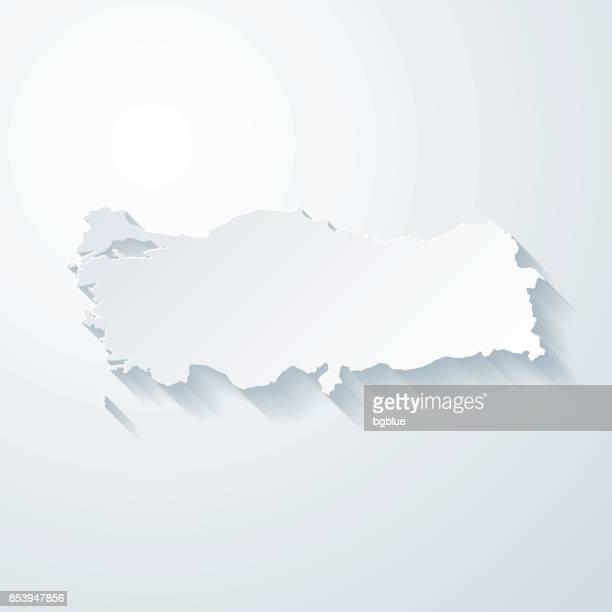 turkey map with paper cut effect on blank background - turkey middle east stock illustrations