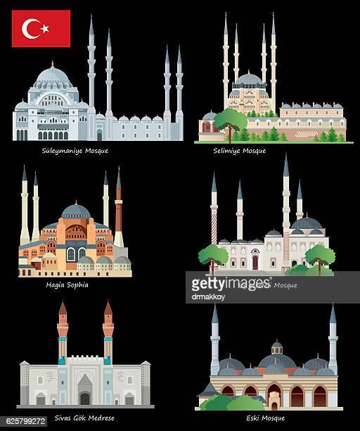 turkey mosque - selimiye mosque stock illustrations