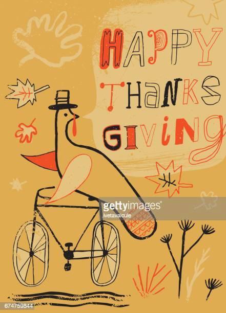 幸せな感謝祭の日を願って自転車のトルコ - 北ヨーロッパ点のイラスト素材/クリップアート素材/マンガ素材/アイコン素材