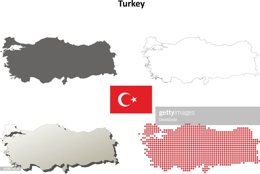 Turkey outline map set