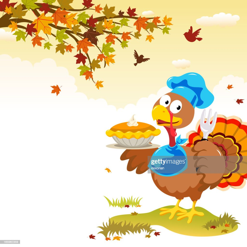 Turkey & Pumpkins Pie : stock illustration