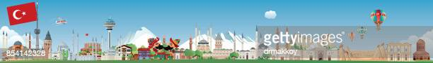 ilustrações, clipart, desenhos animados e ícones de skyline de turquia - panorâmica