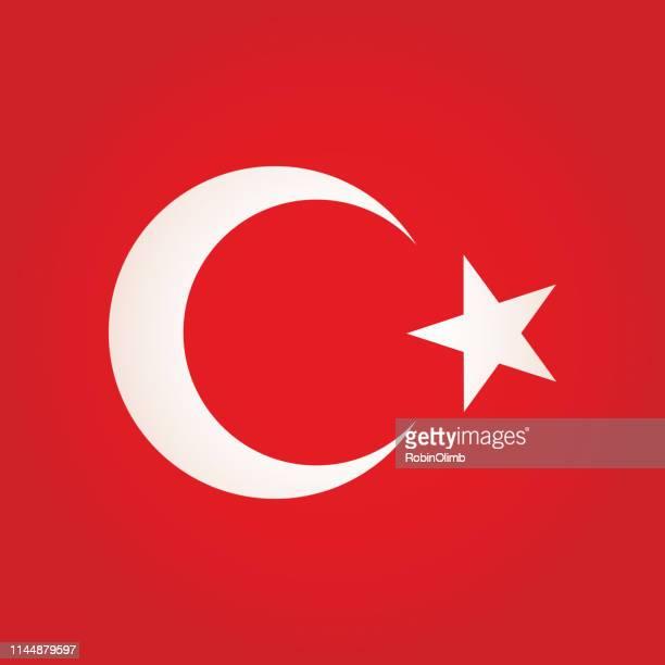 ilustrações, clipart, desenhos animados e ícones de ícone quadrado da bandeira de turquia - semicírculo