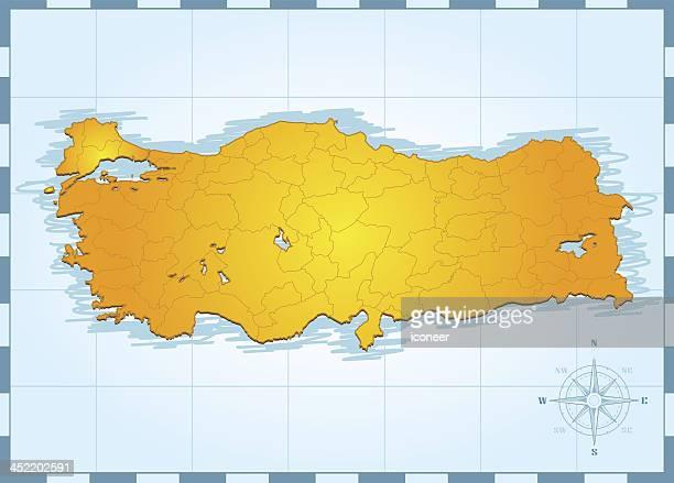 Turkey travel map vintage