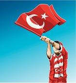 Turkey Waving Flag Soccer Fan