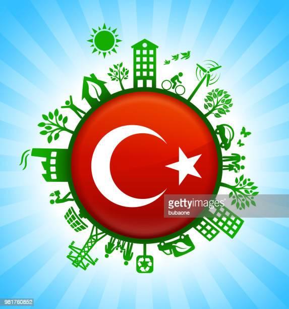 Turkish Flag on Environmental Conservation Background