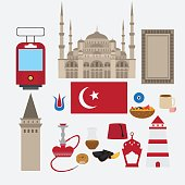 Turkish flat set design elements, Istanbul, Turkey. Architecture and food.