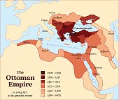 Turkish history - The Ottoman Empire at its greatest extent in 1683 - overview map of its territory expansion and military acquisition in Europe, Asia and Africa - vector illustration.