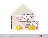 200 Turkish Lira Banknote. Flat style opened envelope with cash. Turkish Lira banknotes and coins. Salary payout or corruption concept.